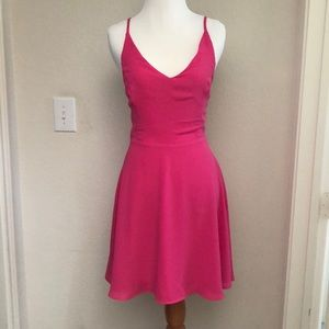 Hot Pink A-line Cross-Back Dress